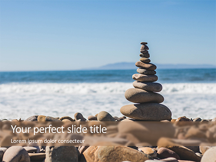 Folded Pyramid of Smooth Stones on the Seashore Presentation Presentation Template, Master Slide