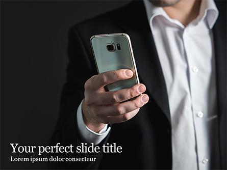 A Businessman Holding Phone Presentation Presentation Template, Master Slide