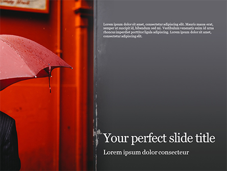 A Person Under Red Umbrella Presentation Presentation Template, Master Slide