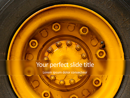 Closeup Photo of Yellow Vehicle Wheel with Tire Presentation Presentation Template, Master Slide