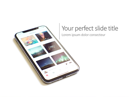 Smartphone on White Desk Presentation Presentation Template, Master Slide