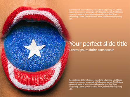 Beautiful Female Lips and Tongue Painted in Captain America's Shield Style Presentation Presentation Template, Master Slide