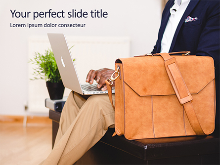 Person Using Notebook Beside Brown Leather Briefcase Presentation Presentation Template, Master Slide
