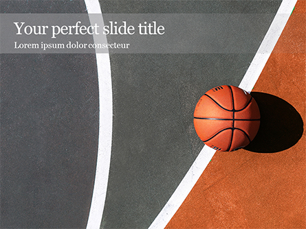 Top View of Streetball Court with Basketball Ball Presentation Presentation Template, Master Slide