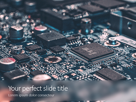 Microchips on Electronic Circuit Board Presentation Presentation Template, Master Slide