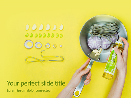 Cooking in Frying Pan with Virgin Olive Oil Presentation Presentation Template, Master Slide