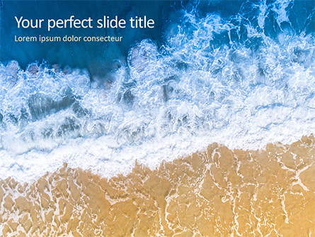 Aerial View of Sandy Beach and Ocean with Waves Presentation Presentation Template, Master Slide