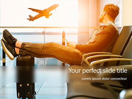 Man Sitting on Chair with Feet on Luggage and Looking at Airplane Presentation Presentation Template, Master Slide