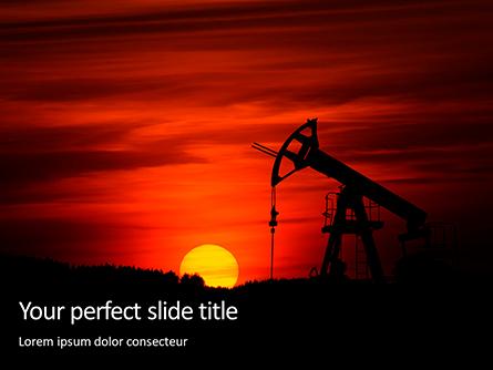 Oilfield Silhouette on Sunset Presentation Presentation Template, Master Slide
