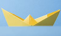 Yellow Color Origami Paper Ship Presentation Presentation Template