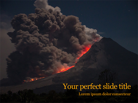 Volcano Eruption during Nighttime Presentation Presentation Template, Master Slide