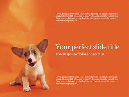 Cute Puppy Portrait on Orange Background Presentation Presentation Template, Master Slide