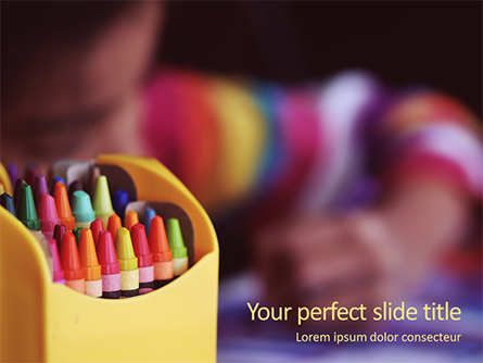 Crayons in Yellow Box Beside Child Presentation Presentation Template, Master Slide