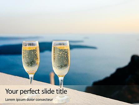 Two Prosecco Glasses Against a Sea Presentation Presentation Template, Master Slide