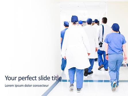 Back View of Team of Doctors and Nurses Presentation Presentation Template, Master Slide