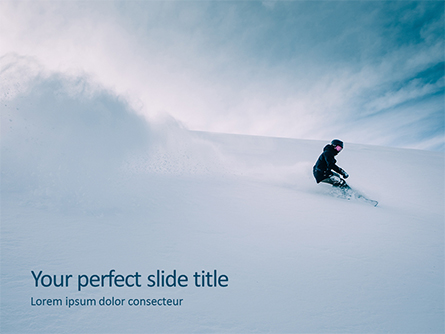 Snowboarder in Fine White Powder Snow Presentation Presentation Template, Master Slide