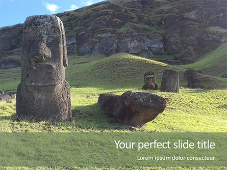 Moai Standing in Easter Island Presentation Presentation Template, Master Slide