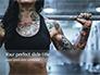 Tattooed Girl Holds Barbell on Her Shoulders Presentation slide 1