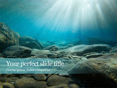Sunbeams Underwater with Rocks on the Seabed Presentation Presentation Template, Master Slide