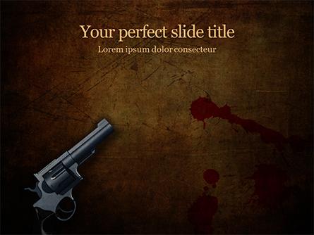Handgun on Floor with Blood Splatters Presentation Presentation Template, Master Slide