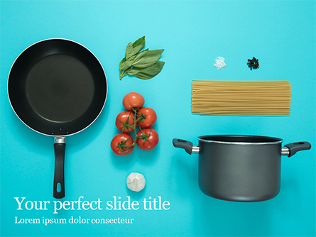 Cooking Pot and Frying Pan with Tomatoes Presentation Presentation Template, Master Slide