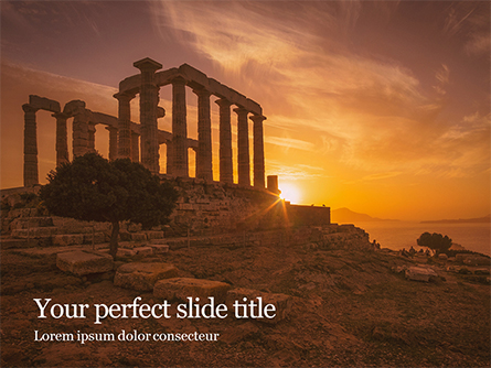 Ruins of Ancient Greek Temple of Poseidon Presentation Presentation Template, Master Slide