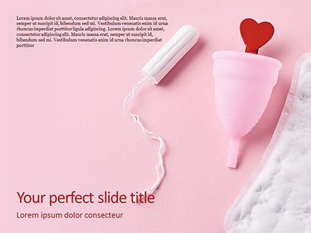Sanitary Pad Menstrual Cup Tampon and Red Heart Presentation Presentation Template, Master Slide