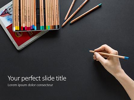 Hand with Blue Pencil Against Black Table Presentation Presentation Template, Master Slide