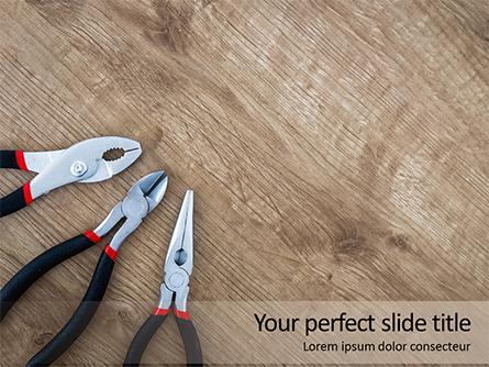 Pliers and Wire Cutters on Wooden Fool Presentation Presentation Template, Master Slide