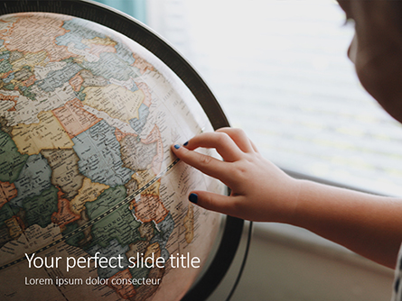 A Schoolgirl Touches the Globe Presentation Presentation Template, Master Slide