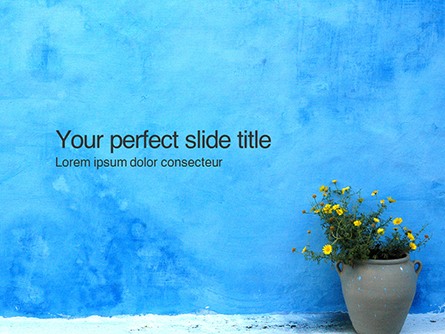 Street Pot with Flowers Against Blue Wall Presentation Presentation Template, Master Slide