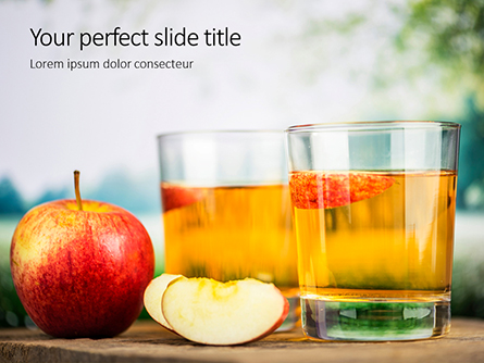 Red Apple and Two Glasses of Apple Juice Presentation Presentation Template, Master Slide