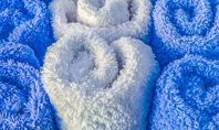 White and Blue Wool Fluffy Towels Presentation Presentation Template