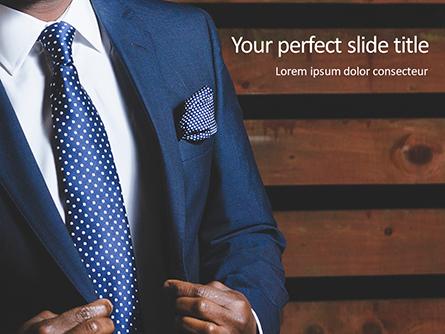 Businessman in Suit Against Wooden Wall Presentation Presentation Template, Master Slide