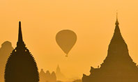 Hot Air Balloons over Ancient Pagoda in Bagan Presentation Presentation Template