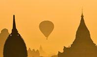 Hot Air Balloons over Ancient Pagoda in Bagan Presentation Presentation Template