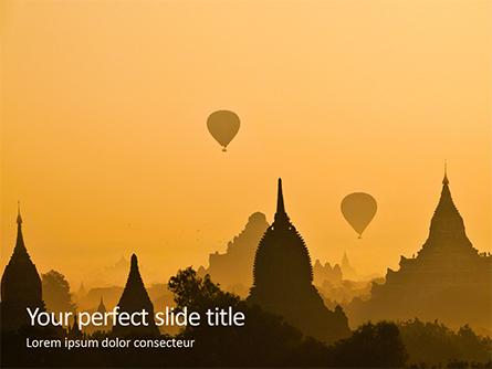 Hot Air Balloons over Ancient Pagoda in Bagan Presentation Presentation Template, Master Slide