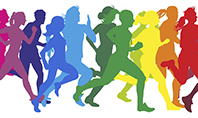 Colored Silhouettes of Running People Presentation Presentation Template