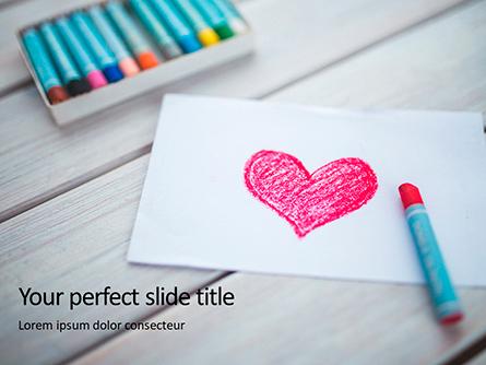 Heart Shape Drawn on Sheet of Paper Presentation Presentation Template, Master Slide
