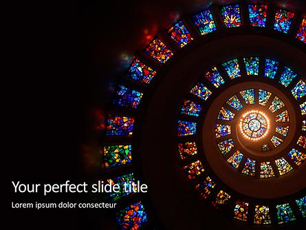 Spiral Stained Glass Window Presentation Presentation Template, Master Slide