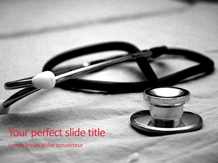 Medical Stethoscope on Hospital Bed Presentation Presentation Template, Master Slide
