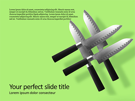 Four Levitating Knives Against Green Background Presentation Presentation Template, Master Slide