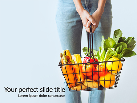 Woman Holding Shopping Basket Full of Fruits and Vegetables Presentation Presentation Template, Master Slide