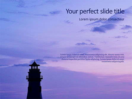 Lighthouse Silhouette Against Purple Sky Presentation Presentation Template, Master Slide