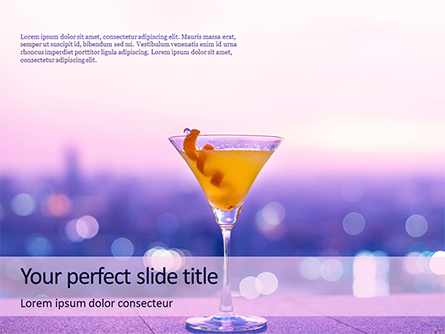 Martini Glass Against Blurred Cityscape Presentation Presentation Template, Master Slide