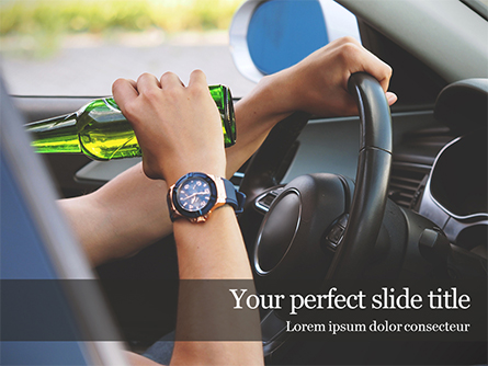 Driver Drinking Behind the Steering Wheel Presentation Presentation Template, Master Slide