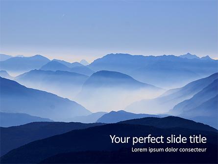 Mountain Peaks in Blue Morning Fog Presentation Presentation Template, Master Slide
