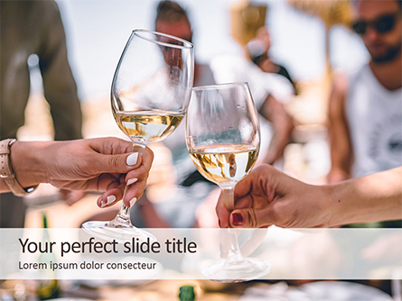 Clinking Glasses with White Wine and Toasting Presentation Presentation Template, Master Slide