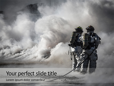 Two Firefighters Standing Beside Smoke Presentation Presentation Template, Master Slide