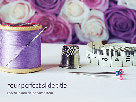Flowers and Sewing Tools Presentation Presentation Template, Master Slide